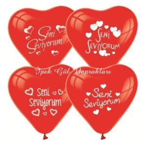 """Kalpli """"Seni Seviyorum""""Baskılı Balonlar"""