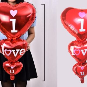 "3'lü Kalpli ""I Love You"" Baskılı Kalpli Balon"