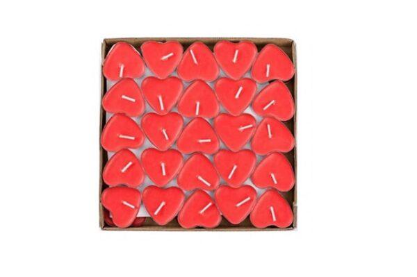 Kırmızı Kalpli Mum 50 Adet